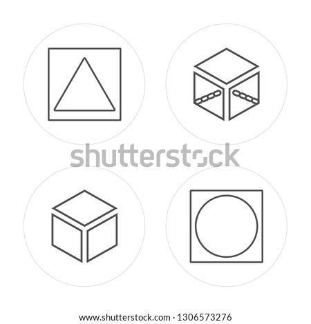 4 line Triangle, Cube, Cube, Oval modern icons on round shapes, Triangle, Cube, Cube, Oval vector illustration, trendy linear icon set.