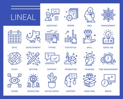 Line vector icons in a modern style. Search and selection of staff, Support and Assistance in Problem Solving, Jobs in the Corporation