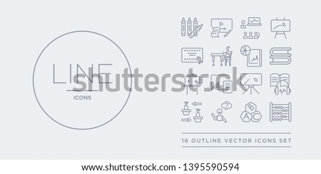 16 line vector icons set such as abacus, abc, ask, asynchronous learning, audiobook contains blackboard, blended learning, board, book. abacus, abc, ask from e-learning and education outline icons.