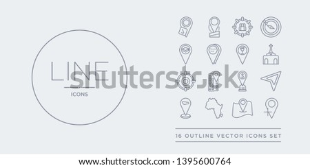 16 line vector icons set such as add location, add to map, africa, airport pin, arrow on map contains bank pin, building pin, center, church. add location, to map, africa from maps and locations