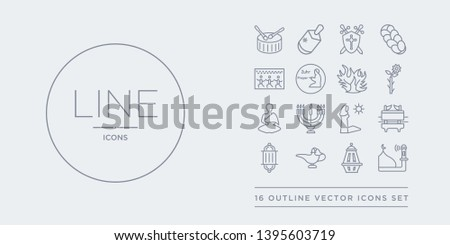 16 line vector icons set such as adhan call, arabian lantern, arabian magic lamp, arabic lamp, ark of the convenant contains assr, big menorah, buddhist monk, budding staff. adhan call, arabian