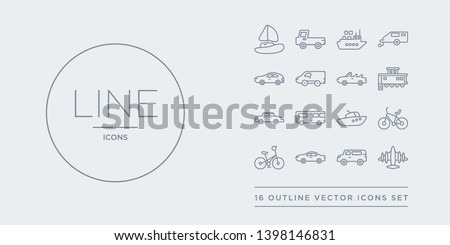 16 line vector icons set such as aeroplane, airport shuttle, automobile, bicycle, bike contains boat, bus, cab, caboose. aeroplane, airport shuttle, automobile from transportation outline icons.