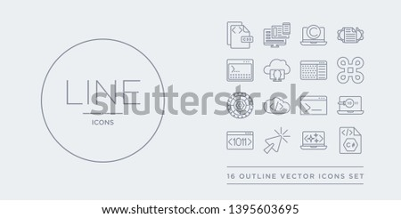 16 line vector icons set such as c sharp, clean code, click, code, code review contains terminal, coding, cogwheel, command. c sharp, clean click from programming outline icons. thin, stroke