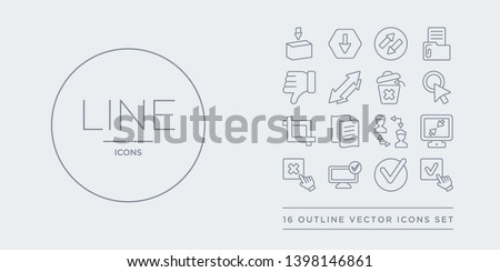 16 line vector icons set such as check, check square, checked, close, compress contains connections, copy, crop, cursor. check, square, checked from webnavigation outline icons. thin, stroke