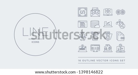 16 line vector icons set such as content curation, content marketing, conversion, conversion rate optimization, css contains css3, data architecture, data mining, data modelling. content curation,