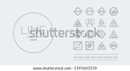 16 line vector icons set such as danger, degree curve road, end motorway, end of way, falling rocks contains fire, forbidden, gas station, gasoline. danger, degree curve road, end motorway from