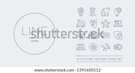 16 line vector icons set such as digital transformation, direct marketing, disk brake, distance learning, e-privacy contains eco battery, ecommerce platform, ecommerce solutions, ecommerce strategy.