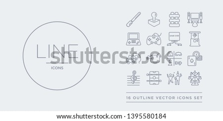 16 line vector icons set such as ferris wheel, festival, foosball, g clef, gambling contains game, game console, game controller, machine. ferris wheel, festival, foosball from entertainment outline