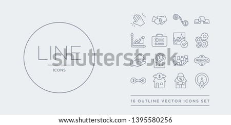 16 line vector icons set such as fixed costs, fixed-rate mortgage, flexible mortgage, foreign exchange (forex), freehold contains futures, gazumping, gazundering, gearing. fixed costs, fixed-rate