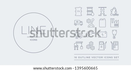 16 line vector icons set such as gas station, gasoline pump, gear, harbor crane, hook crane contains industrial battery, industrial drill, industrial engineer, industry. gas station, gasoline pump,