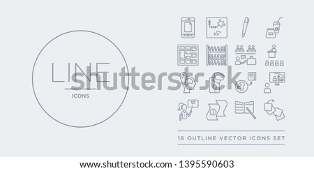 16 line vector icons set such as graduation, homework, information, instructor, interactive course contains international, knowledge, learning, lecture. graduation, homework, information from