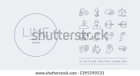 16 line vector icons set such as herpes, histiocytosis (childhood cancer), hiv, hiv/aids, hpv contains human papillomavirus, human papillomavirus (hpv), huntington's disease, hypermetropia. herpes,