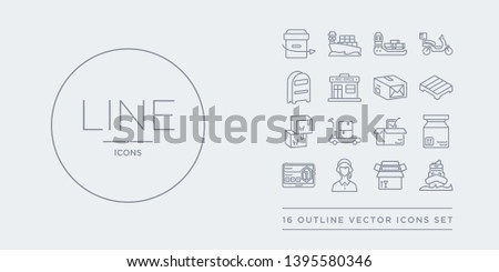 16 line vector icons set such as ocean transportation, open box, operator, order, package contains package checking, package on trolley, packages, pallet. ocean transportation, open box, operator