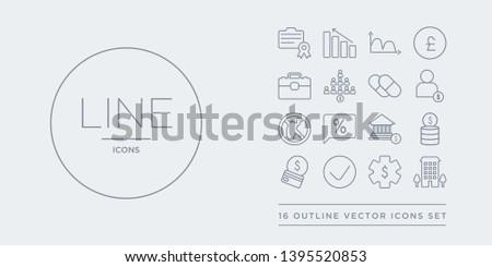 16 line vector icons set such as ordinary residence, ordinary share, organisation for economic cooperation and development, organisation of petroleum exporting countries (opec), overdraft contains