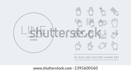 16 line vector icons set such as pinch, point right, point to left, pointing hand, pointing up contains prayer gesture, press with two fingers, prohibition  gesture, punch. pinch, point right, to