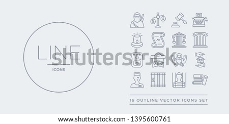 16 line vector icons set such