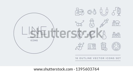 16 line vector icons set such as radioactivity, refraction, science book, scientific, tubes contains volumetric flask, biology, cells, chemistry. radioactivity, refraction, science book from science