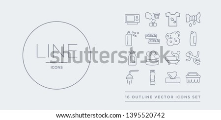 16 line vector icons set such as scrub brush, serviette, shampoo, shower head, slippery contains soak, soap, softener, solvent. scrub brush, serviette, shampoo from cleaning outline icons. thin,