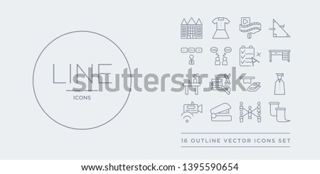 16 line vector icons set such as sheet, sociology, stapler, streaming, student contains study, study tools, studying, teacher desk. sheet, sociology, stapler from e-learning and education outline