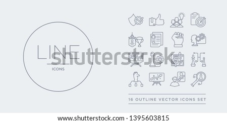 16 line vector icons set such as strategic vision, strategical planning, strategy, strategy choice, strategy game contains in a labyrinth, management, sketch, thought. strategic vision, strategical