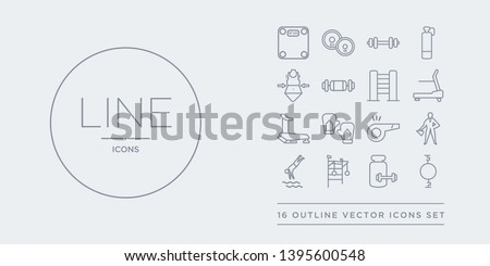 16 line vector icons set such as stretching punching ball, supplement, swedish wall, swim, trainer contains trainer rod, training gloves, treadmill, treadmill machine. stretching punching ball,