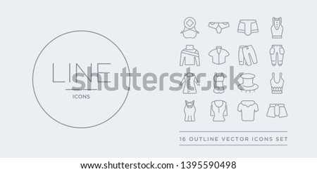 16 line vector icons set such as swim shorts, t shirt, t-shirt, tank top, tanktop contains top hat, tracksuit, trench coat, trouser. swim shorts, t shirt, t-shirt from clothes outline icons. thin,