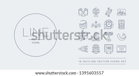 16 line vector icons set such as text editor, tracking, internet traffic, type hierarchy, uptime and downtime contains user experience, user flow, user interface, persona. text editor, tracking,