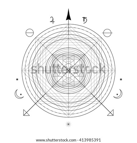 Linear alchemy, occult, philosophical sign. For music album cover, sprites for game user interface, sacramental logo design. Astrology, imagination, creativity, superstition, religion concept.