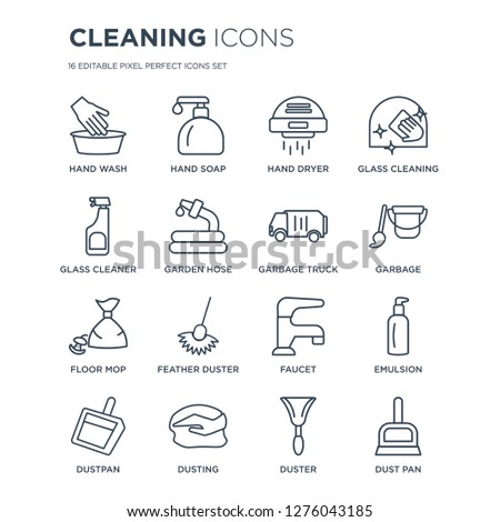 16 linear Cleaning icons such as Hand wash, soap, Dusting, Dustpan, Emulsion, Dust pan, Glass cleaner modern with thin stroke, vector illustration, eps10, trendy line icon set.