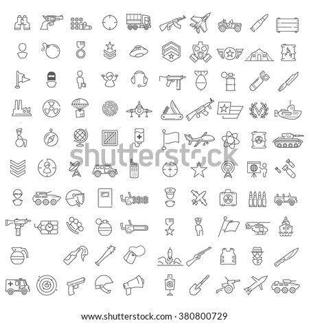 100 linear icons for military