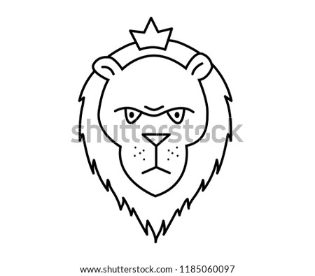 linear illustration of a lion