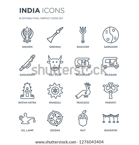 16 linear india icons such as