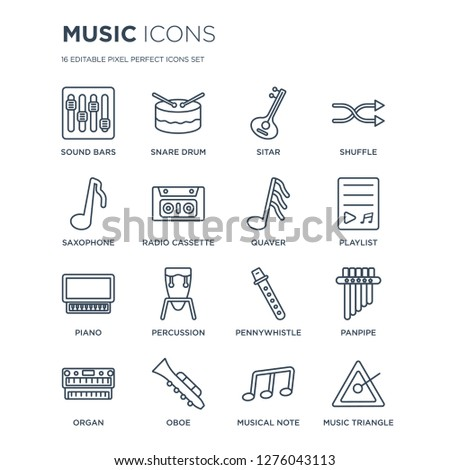 16 linear Music icons such as Sound bars, Snare drum, Oboe, Organ, Panpipe, music Triangle, Saxophone, Piano, Quaver modern with thin stroke, vector illustration, eps10, trendy line icon set.