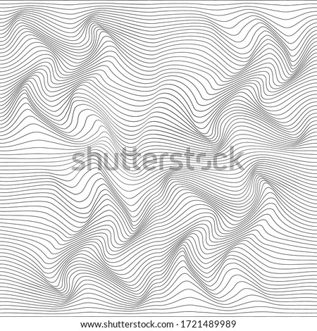 Linear texture. Abstract relief background with optical illusion of distortion. Vector illustration.