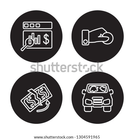 4 linear vector icon set : Actual Cash Value, replacement value, Beneficiary, total loss isolated on black background, Actual Cash Value, replacement value, Beneficiary, total loss outline icons