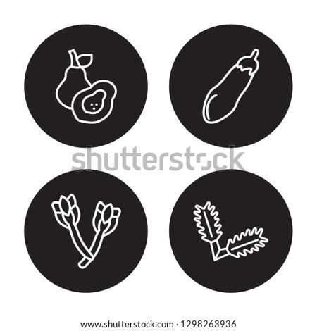 Stock Photo 4 linear vector icon set : Avocado, Asparagus, Aubergine, Arugula isolated on black background, Avocado, Asparagus, Aubergine, Arugula outline icons