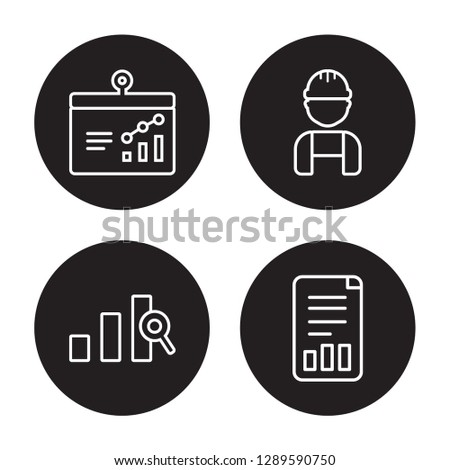 4 linear vector icon set : Bars graphic on screen, Bars Chart Analysis, Worker, Bar Stats isolated on black background, Bars graphic on screen, Bars Chart Analysis, Worker, Bar Stats outline icons