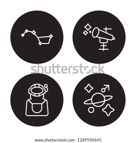 4 linear vector icon set : Big dipper, Astronaut, Astronomy, Astrology isolated on black background, Big dipper, Astronaut, Astronomy, Astrology outline icons