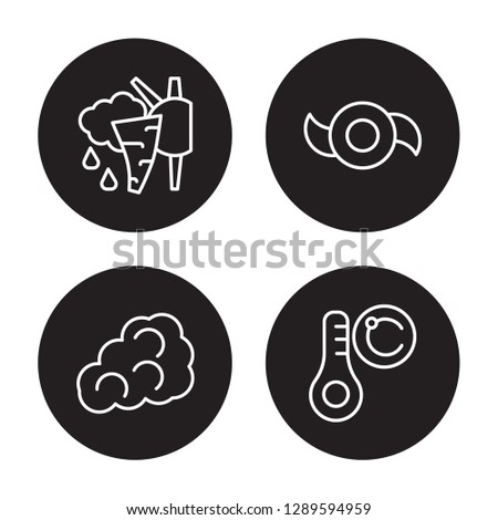 4 linear vector icon set : Clouds, Cirrus cumulus, Climate, Celsius isolated on black background, Clouds, Cirrus cumulus, Climate, Celsius outline icons