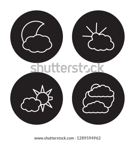 4 linear vector icon set : convergence, Cloudy Day, Cloudy night, Clouds and sun isolated on black background, convergence, Cloudy Day, Cloudy night, Clouds and sun outline icons