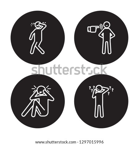 4 linear vector icon set : determined human, curious human, depressed human, crazy human isolated on black background,