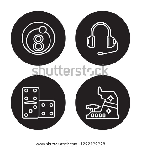 4 linear vector icon set : Eight ball, Domino, Earphone, Dices isolated on black background, Eight ball, Domino, Earphone, Dices outline icons