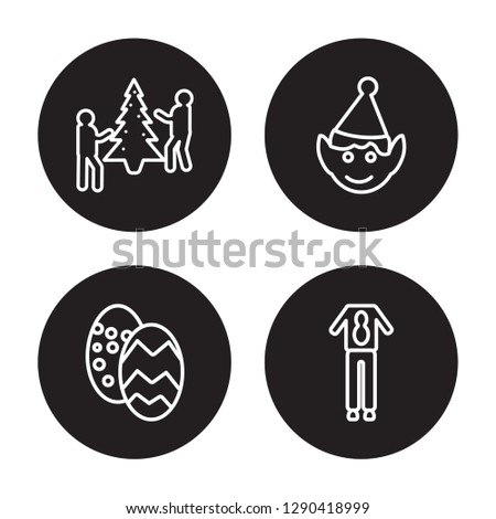 4 linear vector icon set : Event, Easter egg, Elf costume, Deer Costume isolated on black background, Event, Easter egg, Elf costume, Deer Costume outline icons