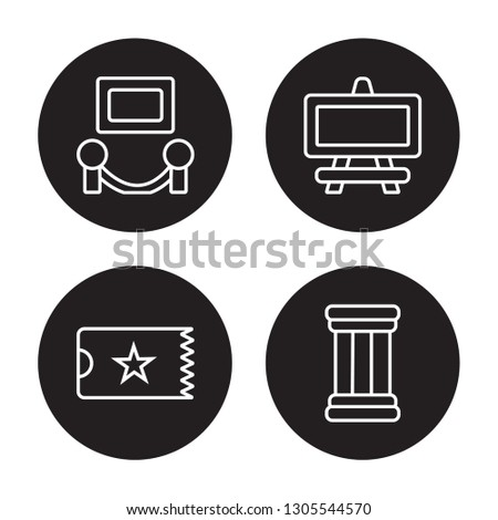 4 linear vector icon set : Exhibition, museum Ticket, museum Canvas, antique Column isolated on black background, Exhibition, museum Ticket, museum Canvas, antique Column outline icons