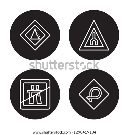 4 linear vector icon set : Falling rocks, End motorway, End of way, degree curve road isolated on black background, Falling rocks, End motorway, End of way, degree curve road outline icons