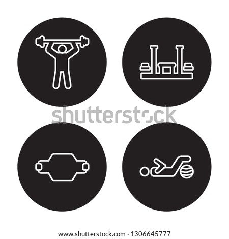 4 linear vector icon set : fitness Body, fitness Belt, Fitness bench, Fitness Ball isolated on black background,outline icons