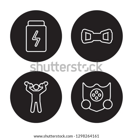 4 linear vector icon set : Fitness, Exercise, Exercise bands, Elevation mask isolated on black background, Fitness, Exercise, Exercise bands, Elevation mask outline icons