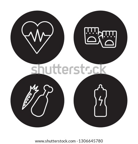 4 linear vector icon set : fitness Heart, fitness Food, Fitness Gloves, fitness Drink isolated on black background,outline icons