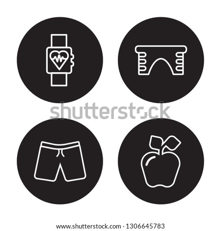 4 linear vector icon set : Fitness Tracker, fitness Shorts, fitness Step, Fitness Nutrition isolated on black background, outline icons