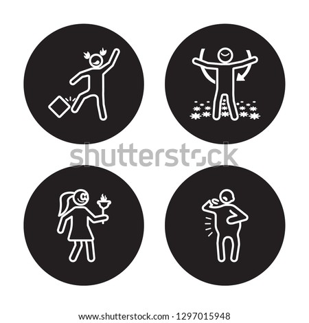 4 linear vector icon set : free human, fantastic human, fat human, exhausted human isolated on black background,